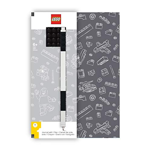 (LEGO Stationery Journal with Brick Plate and Gel Pen - Gray Cover with Black Brick and Pen - 96 Wide Ruled Pages - 6