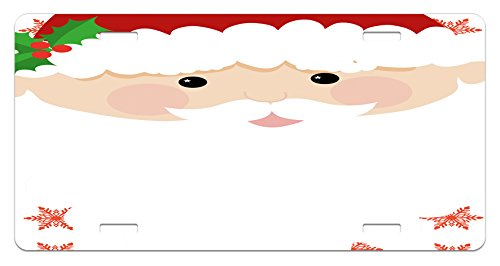 White Mistletoe Santa Hat - Kids Christmas License Plate by Ambesonne, Cartoon Face of Santa with Pink Cheeks White Beard and Mistletoe on His Hat, High Gloss Aluminum Novelty Plate, 5.88 L X 11.88 W Inches, Multicolor