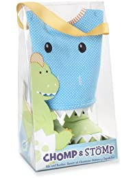 Chomp & Stomp Dinosaur Bib and Booties Gift Set, Blue, 0-9 Months (Discontinued by Manufacturer)