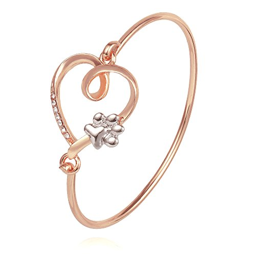 TUSHUO Love Heart Knot with Rhinestone and Cute Paw Print Everlasting Love Clasp Hook Wire Gift for Bridesmaid Bangle Bracelet (Rose Gold) - Heart Hook Bracelet