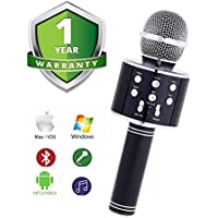 Zaptin Karaoke Microphone Handheld Bluetooth Speaker for Apple iPhone Android PC and Smartpnone Karaoke Machine for Home KTV Outdoor Part Muise Playing Singing WS-858