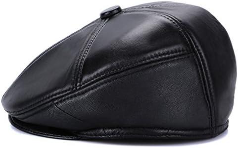 レザー ハンチング 帽子 キャップ キャスケット ベレー帽 メンズ レディース 秋冬 耳あて 無地 お洒落 合革 カジュアル お出かけ