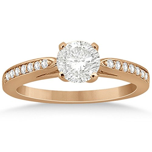 Petite Semi-Eternity Diamond Solitaire Engagement Ring w/ Round Side Stones 18k Rose Gold (Round Solitaire Semi Eternity Ring)