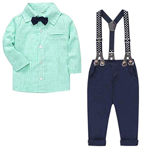 Baby Boys Clothes, Vertical Stripes Long Sleeves Dress Shirt and Suspender Pants Set Tuxedo Gentlemen Outfit with Bow Tie for Newborn Toddlers Baby Boys, S01 Green, 12-18 Months/Tag 90 -