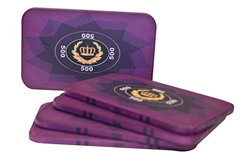 Poker 40g Ceramic Plaques - Set of Five Laurel Crown Ceramic Poker Plaques By MRC (Purple $500)
