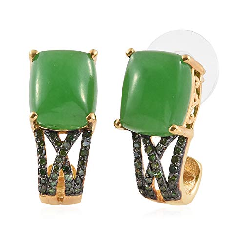 925 Sterling Silver Vermeil Yellow Gold Plated Cushion Green Jade Green Diamond Earrings Cttw 0.4