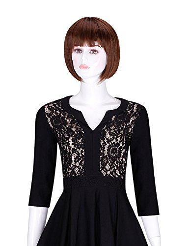 Dentelle V-cou Chute De Mode Féminine Adamaris Mince 3/4 Robe Swing Manches Noir