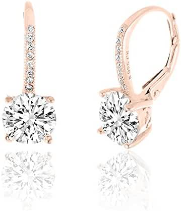 SPECIAL OFFER Gold Over Sterling Silver Round Cubic Zirconia Drop Leverback Earrings