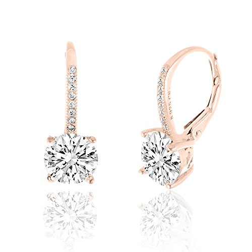 [SPECIAL OFFER 18K Rose Gold Over Sterling Silver Round Cubic Zirconia Drop Leverback Earrings] (High Quality Costumes For Sale)