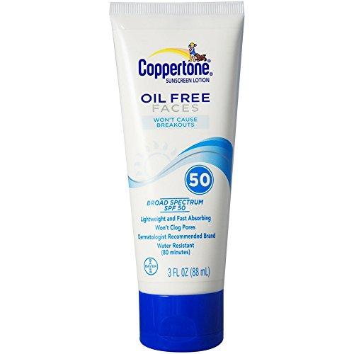 Coppertone Oil Free Faces Sunscreen Lotion, SPF 50 3 oz
