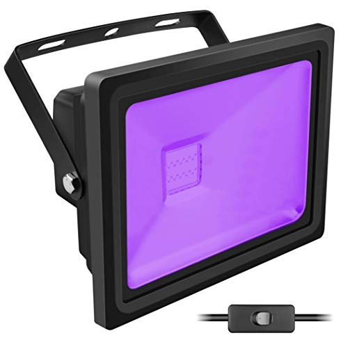 Black Light, HouLight High Power 20W Ultra Violet UV LED Flood Light (85V-265V AC) for Blacklight Party Supplies, Neon Glow, Glow in The Dark, Curing -