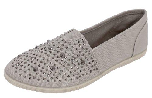 Light Grey Mini Rhinestones Studded Spike Canvas Slip on Flats Sandals Malta (7 M US Women)