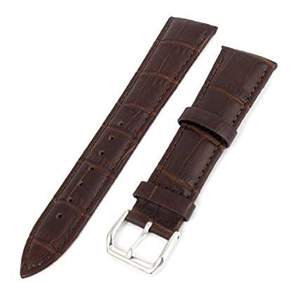 eDealMax Unisex de cocodrilo marrón Grano de imitación de Cuero Correa de reloj de la Banda