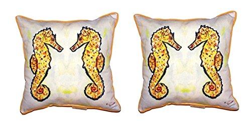 Pair of Betsy Drake Gold Sea Horses Small Pillows 12 X 12 price