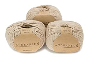 100% Baby Alpaca Yarn Skeins - Set of 3 (Beige) - AndeanSun - Luxuriously soft for knitting, crocheting - Great for baby garments, scarves, hats, and craft projects Ð BEIGE