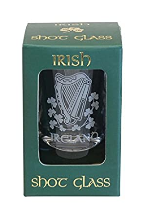 Harp Crystal Shot Glass by Shamrock Gift Co Amazoncouk Kitchen
