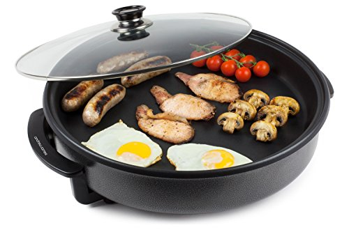 Andrew James Multi Camping Cooker with Glass Lid - 42cm Portable Electric 1500W...