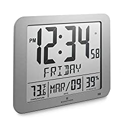 Marathon Slim Atomic Full Calendar Clock with Large 3.25 Digits, Indoor Temperature and Humidity - Batteries Included - CL030067GG (Graphite Grey)