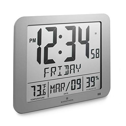 Marathon CL030067GG Slim Atomic Full Calendar Clock with Large 3.25