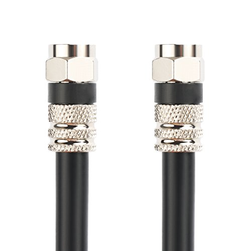 Postta Digital Coaxial Cable(4 Feet)Quad Shielded Black RG6 Cable with F-Male Connectors ()