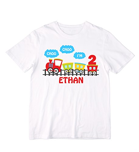 (Colorful Personalized Choo Choo I'm (Any Age) Train Shirt or Bodysuit - can be customized with ANY name and age )