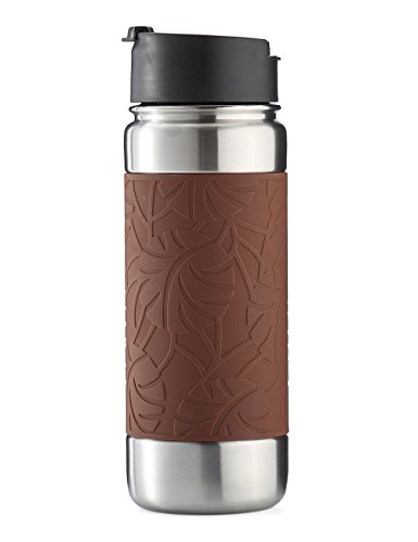 bottlebottle Vacuum Insulated Stainless Steel Water Bottle, 18oz Leak Proof Coffee Travel Mug Thermo Flask with Silicone Sleeve, Wide Mouth with BPA Free Flip Top Lid, Light Coffee Brown