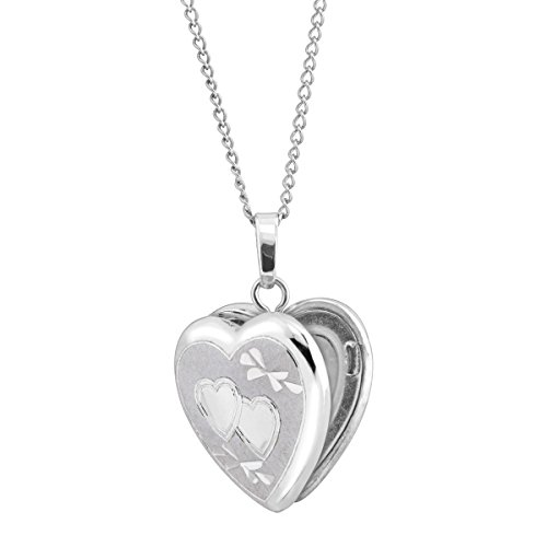 Classic Small Double Etched Heart Locket Pendant Necklace in Sterling Silver (Locket Etched Heart)