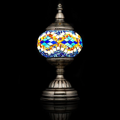 - Mosaic Lamp-Handmade Turkish Mosaic Table Lamp with Mosaic Lantern,Bronze Base,Unique Table Lamp for Room Decoration(Blue,White)-A69