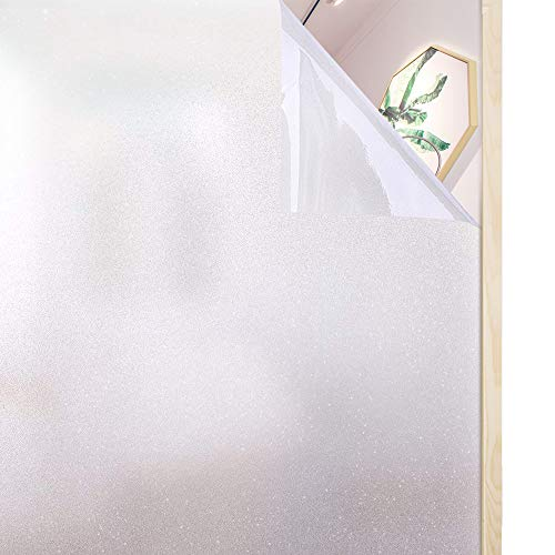 Rabbitgoo Privacy Window Film Frosted Film No Glue Anti-UV Window Sticker White Frosted Window Cling Non-Adhesive for Privacy Office Meeting Room Bathroom Bedroom Living Room 17.5