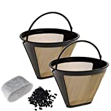 6 cone filter gold - 2 Pack Gold Coffee Filter with 6 Charcoal Water Filters Cone Style Universal Fit Refillable Single Cup Coffee Filters Stainless Steel Mesh Filte Washable Reusable for Cuisinart Machines and Brewers