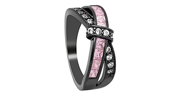 Amazon.com: JEWH Wedding Engagement Ring - Cross Finger Ring for Lady - Paved CZ Zircon Luxury Jewelry - Hot Princess Women Rings - Elegant Stone Ring (Pink ...
