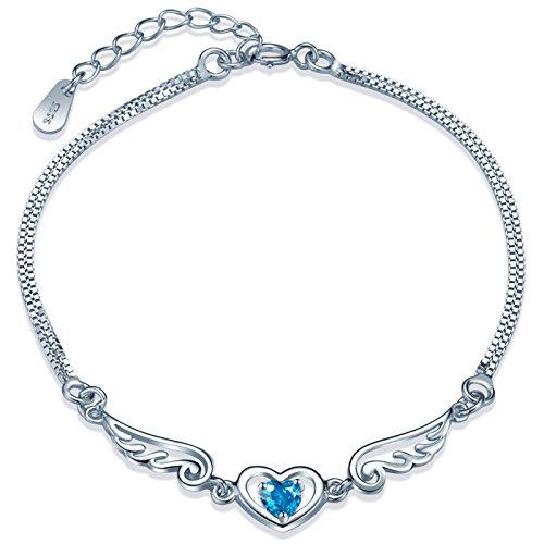 (Yumilok 925 Sterling Silver Cubic Zirconia Hollow Angel Wings Hearts Charm Double Chain Strand Bracelet for Women/Teenager/Girls)