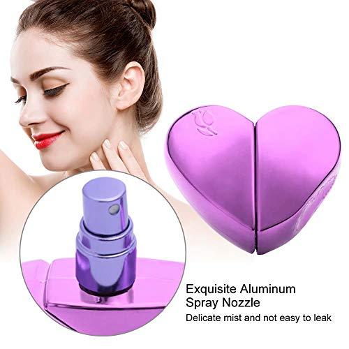 Empty Perfume Spray Bottle, Travel 25ml Heart Shaped Mini Refillable Perfume Atomizer Bottle Empty Pump Sprayer (Purple)