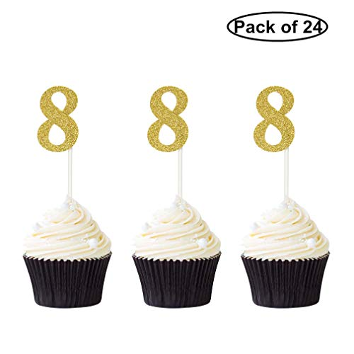 Pack of 24 Number 8 Cupcake Toppers Gold Glitter 8th Birthday Cupcake Picks Anniversary Party Decor