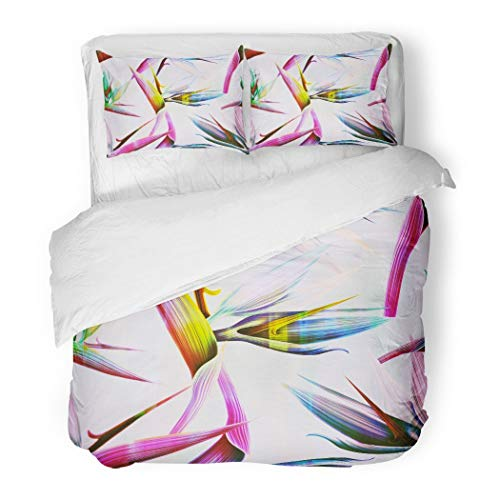 PENGTU PremiumDuvet Cover Set Colorful Spring Time Contemporary Bird of The Paradise Decorative Bedding Set with Pillow Case Twin Size