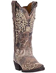 Laredo Womens Jasmine Flower Embroidery Cowboy Boot, Taupe/Bone