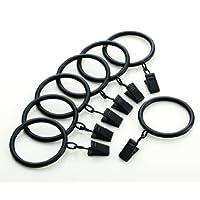 Kenney A58720754 Anillos de clip clásicos para varillas de hasta 1 pulgada de diámetro, negro, paquete de 7