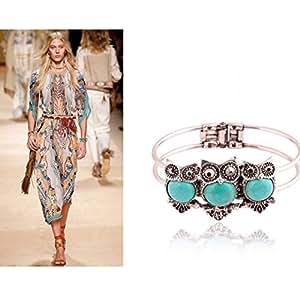 Three Blue Turquoise Owls Fashion Bangle Bracelet