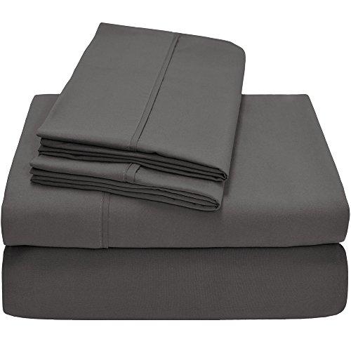 Premium 1800 Ultra-Soft Microfiber Collection California King Sheet Set, Hypoallergenic, Wrinkle Resistant, Deep Pocket (California King, Grey)