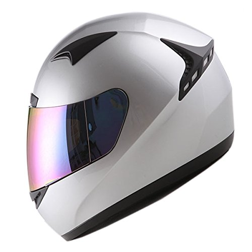 1STORM MOTORCYCLE BIKE FULL FACE HELMET BOOSTER GLOSSY SILVER