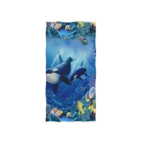 Pingshoes Whales Ocean Hand Towels Ultra Soft Luxury Cotton Face Towel Washcloths for Home Kitchen Bathroom Spa Gym Swim Hotel Use