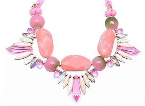 Girl Era Opal Crystal Lace Unique Pendant Necklace Best Gift Jewelry(pink)