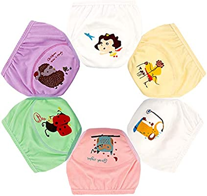 Toddler Potty Training Underwear 6 Layer Padded Cotton Training Pants 6 Pack for Boys and Girls-1T-5T