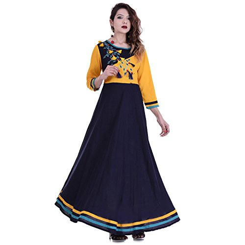 Chichi Women 3/4 Sleeve Tunic Embroidery Top Kurti Blouse (Blue) by CHI (Image #6)