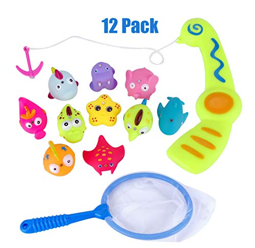 USATDD Baby Bath Fishing Toy,Bath Toy Fishing Game Catch Cute Fish in The Tub with Magnetic Fishing Rod - Includes 10 Fish, Fishing Rod, Net and Storage Bag