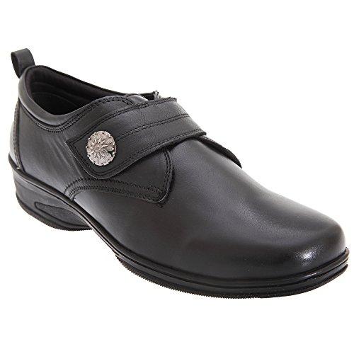 Mod Comfys Chaussures à Sangle Scratch - Femme Noir 7vBoXO6