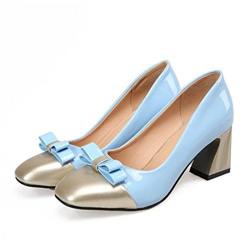 AmoonyFashion Womens Square Closed Toe Pull-on PU Assorted Color Low-Heels Pumps-Shoes Blue LNAxDaL