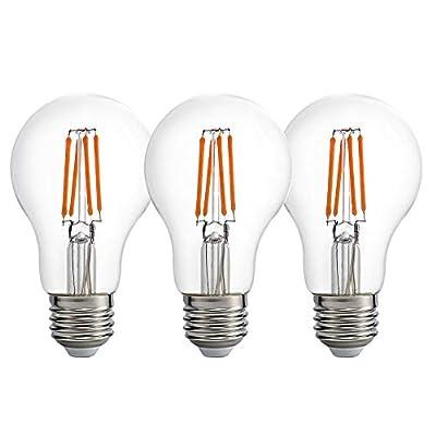 Dusk to Dawn LED Light Bulb Indoor/Outdoor Lighting, Photocell Light Sensor,Auto Turn On/Off,Smart Bulb,60W Halogen Equivalent,8W, 800lm,Warm White(2700K),AC120V,for Garden,Garage (Pack of 3)