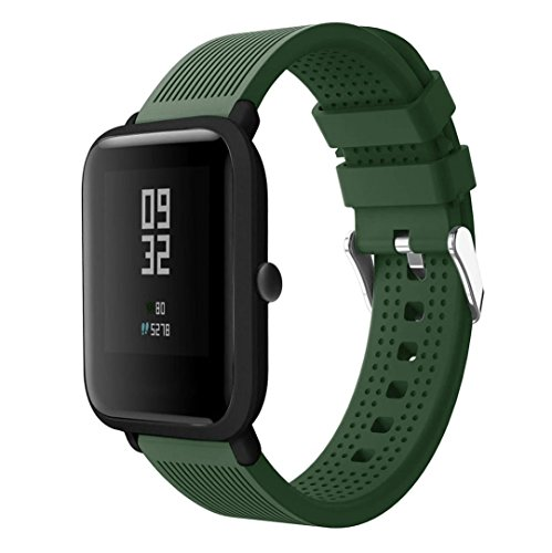 Price comparison product image Outsta for Huami Amazfit Bip Watch Band,  Sport Soft Silicon Accessory Wristband Strap Accessories Smart Watch Bracelet Band Women Men (Army Green)