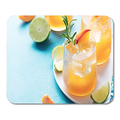 Semtomn Mouse Pad Peach Cocktail Fizz Ice Tea Fresh Rosemary and Lime Mousepad 9.8